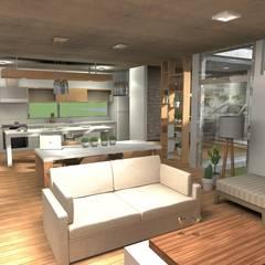 Estar comedor: Comedores de estilo moderno por Arquitectura Bur Zurita