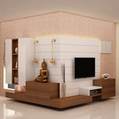 Flowing unit - TV, Puja and Crockery unit  :  Living room by NVT Quality Build solution