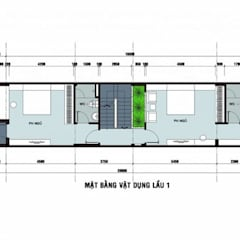Bản vẽ mặt bằng lầu 1 nhà phố 3 tầng 1 tum.:  Nhà gia đình by Công ty TNHH Thiết Kế Xây Dựng Song Phát