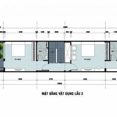 Bản vẽ mặt bằng lầu 2 nhà phố 3 tầng 1 tum.:  Nhà gia đình by Công ty TNHH Thiết Kế Xây Dựng Song Phát