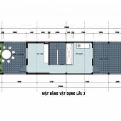 Bản vẽ mặt bằng lầu 3 nhà phố 3 tầng 1 tum.:  Nhà gia đình by Công ty TNHH Thiết Kế Xây Dựng Song Phát