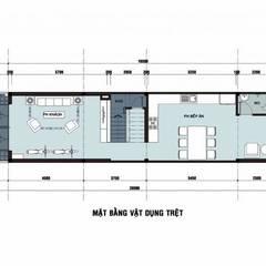 Bản vẽ mặt bằng tầng trệt nhà phố 3 tầng 1 tum.:  Nhà by Công ty TNHH Thiết Kế Xây Dựng Song Phát