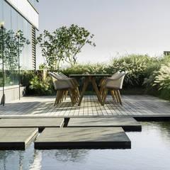 상업정원_서울시 종로수 수송스퀘어 옥상정원 프로젝트: (주)더숲의  정원 연못,모던