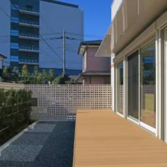 house F: 田所裕樹建築設計事務所が手掛けたテラス・ベランダです。