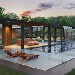 Various Outside Entertainment Areas:  Pool by Dessiner Interior Architectural, Modern