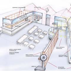 Croquis división espacios: Locales gastronómicos de estilo  de Muka Design Lab