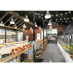 Render zona Market: Locales gastronómicos de estilo  de Muka Design Lab