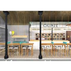 Render zona restauración: Locales gastronómicos de estilo  de Muka Design Lab