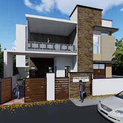 Exterior 3D Elevation:  Multi-Family house by Cfolios Design And Construction Solutions Pvt Ltd