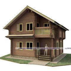 Деревянный дом из профилированного бруса до 100 кв. м: Деревянные дома в . Автор – Projectstroy