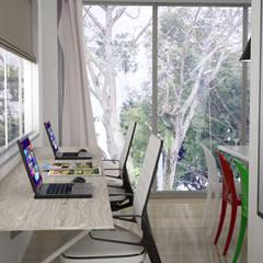 vista a oficina: Estudios y despachos de estilo  por Elizabeth SJ