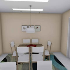 Casa em Jauá/BA: Salas de jantar tropicais por Studio Barreto Fernandes