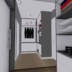 Walk in closet de estilo  por Studio Barreto Fernandes