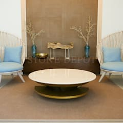Crema Marfil Marble Table Top at Solinea Tower 1 Lobby:  Floors by Stone Depot