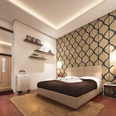 Mr. & Mrs. P Residence:  Bedroom by TWINE Interior Design Studio,