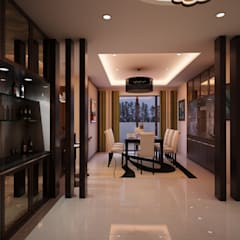 Mr. & Mrs. P Residence:  Corridor and hallway by TWINE Interior Design Studio