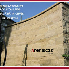 TACO CIZALLADO ● SPLIT FACED WALLING ● PIERRE CLIVÉE ● MAUERSTEINE ●: Jardines de estilo  de ARENISCAS STONE