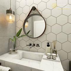 Banheiro Social: Banheiros  por Juliana Azanha   Arquitetura e Interiores