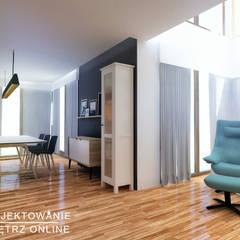 Projekt mieszkania w stylu industrialnym: styl , w kategorii Jadalnia zaprojektowany przez Projektowanie Wnętrz Online