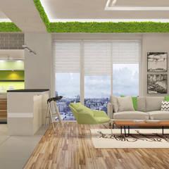CASA MODERNA; CUCINA & SALOTTO OPEN SPACE: Pareti in stile  di Green Habitat s.r.l.