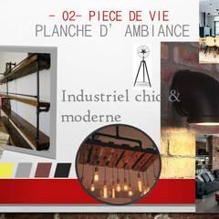 PLANCHE TENDANCE INDUSTRIELLE PIECE DE VIE: Salle à manger de style  par S'PACE HABITAT / S'PACE HOME DESIGN