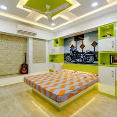 4bhk  completed interior project at acme ozone manpada ghodbundar thane:  Bedroom by KUMAR INTERIOR THANE,Modern