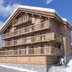 Perspectivas 3D de chalets en la nieve : Casas de madera de estilo  de Realistic-design
