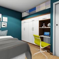 Dormitorio juvenil: Dormitorios de estilo  por Minkarq. Arquitectura y construcción