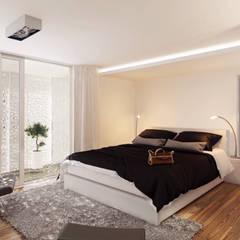 Interior:Dormitorio Principal: Dormitorios de estilo moderno por síncresis arquitectos
