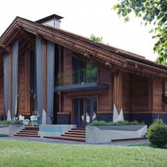Частный дом в стиле шале: Tерраса в . Автор – Архитектурное бюро 'Шумливый и Партнеры'