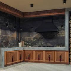 Частный дом: Встроенные кухни в . Автор – Архитектурное бюро 'Шумливый и Партнеры'