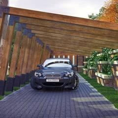 Posto auto coperto in stile  di Архитектурное бюро 'Шумливый и Партнеры'