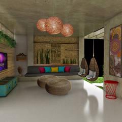 Salas multimedia de estilo rústico por Fabrício Cardoso Arquitetura
