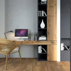 Gabinet w stylu nowoczesnej elegancji: styl , w kategorii Domowe biuro i gabinet zaprojektowany przez MJanimo sp. z o.o