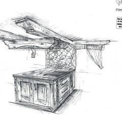 Anfangskizze zur Küche für den Kochbereich:  Einbauküche von Massivholz Design GmbH