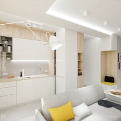 GEOMETRYCZNIE z pastelową nutą: styl , w kategorii Salon zaprojektowany przez INVENTIVE studio