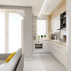GEOMETRYCZNIE z pastelową nutą: styl , w kategorii Aneks kuchenny zaprojektowany przez INVENTIVE studio