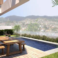 Moradia AD: Piscinas de jardim  por EMF arquitetura