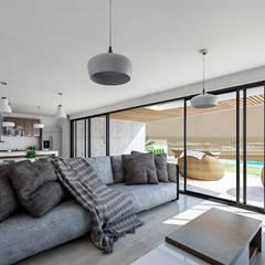 Propuesta diseño de Inreriores Casa de Playa en Zorritos- Tumbes: Salas / recibidores de estilo  por Kiuva arquitectura y diseño,