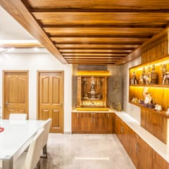 The mural apartment:  Dining room by S Squared Architects Pvt Ltd.,Asian Engineered Wood Transparent