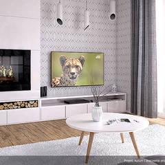 Wizualizacja wnętrza projektu domu Aurum: styl , w kategorii Salon zaprojektowany przez Biuro Projektów MTM Styl - domywstylu.pl