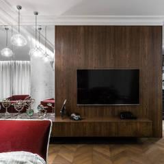 APARTAMENT NAD MOTŁAWĄ - GDAŃSK: styl , w kategorii Salon zaprojektowany przez Anna Serafin Architektura Wnętrz,
