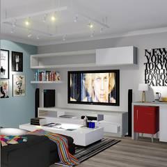 Sala de TV ou Sala da Família: Produtos eletrónicos  por Trivisio Consultoria e Projetos em 3D