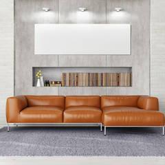 Beton - der ideale Partner für moderne Wohnräume:  Wohnzimmer von Der Rieger Exclusiv