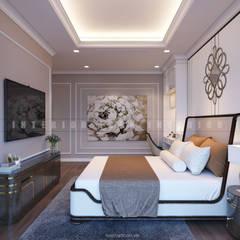 Nội thất căn hộ Vinhomes Central Park - Phong cách Tân Cổ Điển:  Phòng ngủ by ICON INTERIOR
