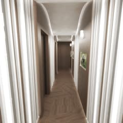 Half & Half Circle Residenence:  Corridor & hallway by TheeAe Architects,