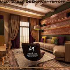 EL-Rehab City Villa New Cairo :  غرفة المعيشة تنفيذ DeZign center office by Dalia Gaber , تبسيطي ألواح خشب مضغوط