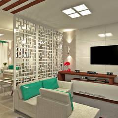 Projeto de Interiores - Casa Bergen: Salas de estar  por Multiplanos Arquitetura,