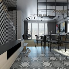Kuchnia klasyczna podłoga winylowa z płytek inspirowanych latami trzydziestymi: styl , w kategorii Jadalnia zaprojektowany przez Decostory