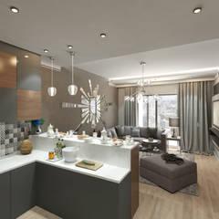 50GR Mimarlık – Cadde varlık_ 1+1 örnek daire:  tarz Oturma Odası
